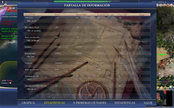 Estad�sticas globales de la partida - Vikingos